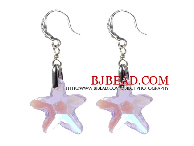 Fashion Style Colorful Starfish Crystal Dangle Earrings