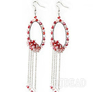 New Style Red Series Red and Pink Crystal Tassel Fashion Earrings under $ 40