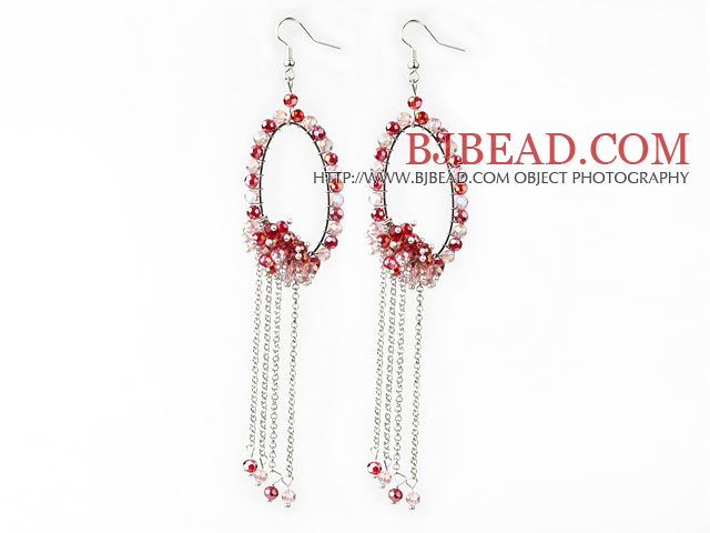 New Style Red Series Red and Pink Crystal Tassel Fashion Earrings