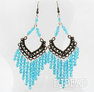Vintage Style Blue Color Faceted Crystal Earrings