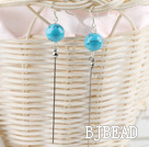 lovely long style 12mm turquoise ball earrings under $1.5