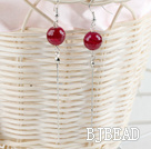 long style faceted red agate earrings