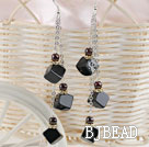 long style black agate earrings