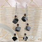 long style black agate earrings under $3