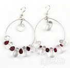 Large-diameter circle fashion crystal garnet earrings