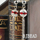 dangling style red rhinestone ball long fashion earrings