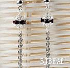 dangling style purple red rhinestone ball long earrings
