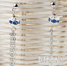 dangling style blue rhinestone ball long earrings