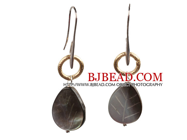 Simple Special Design Leaf Shape Black Lip Shell Dangle Earrings With Golden Loop