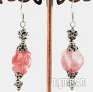 rose shape cherry quartze earrings