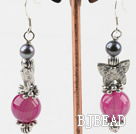 long style butterfly charm black pearl and pink agate earrings under $ 40