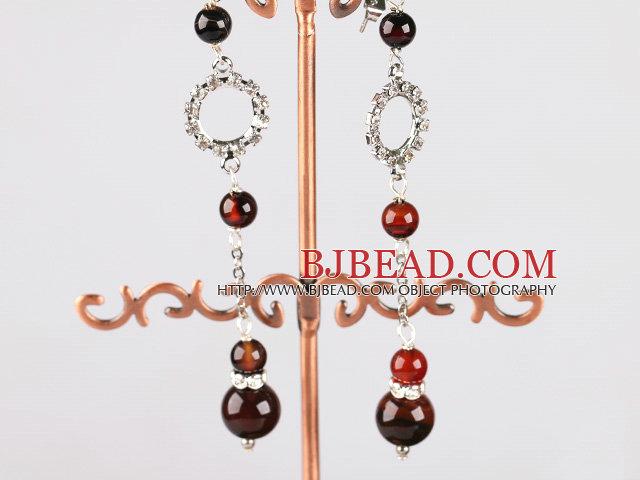 long dangling style fancy agate earrings with rhinestone