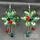 Fashion Style Apple Green Series Green Crystal Flower Earrings