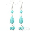 burst pattern turquoise dangle earrings