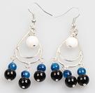 Summer Style White Porcelain Bead Blue Black Agate Dangle Earrings