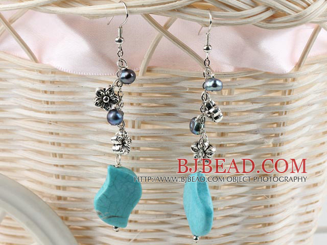 black pearl and turquoise long earrings
