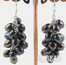 cluster style 6-7mm black pearl earrings