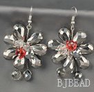 Fashion Style Gray Series Gray Crystal Flower Earrings