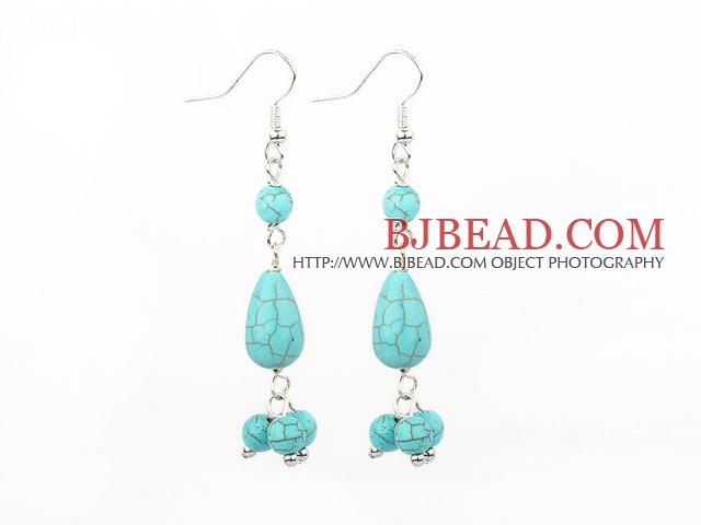 burst pattern turquoise dangle earrings
