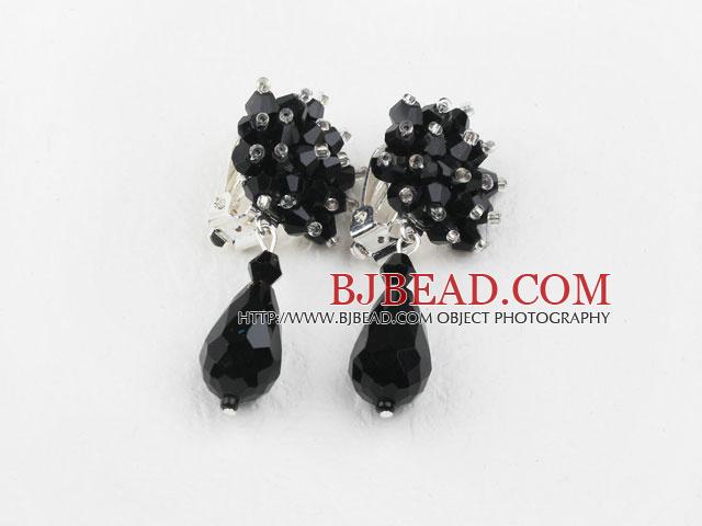 Big Style Black Faceted Drop Crystal Clip Earrings