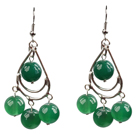 Summer Style Green Agate Beads Dangle Earrings