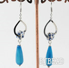 long dangle style fancy blue agate earrings with rhinestone