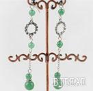 long dangling style aventurine earrings with rhinestone