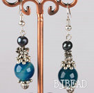 black pearl and blue agate earrings with flower charms under $ 40