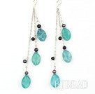 long style blue jasper and balck pearl earrings under $5