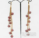 gorgeous crystal long earrings on golden chain under $ 40