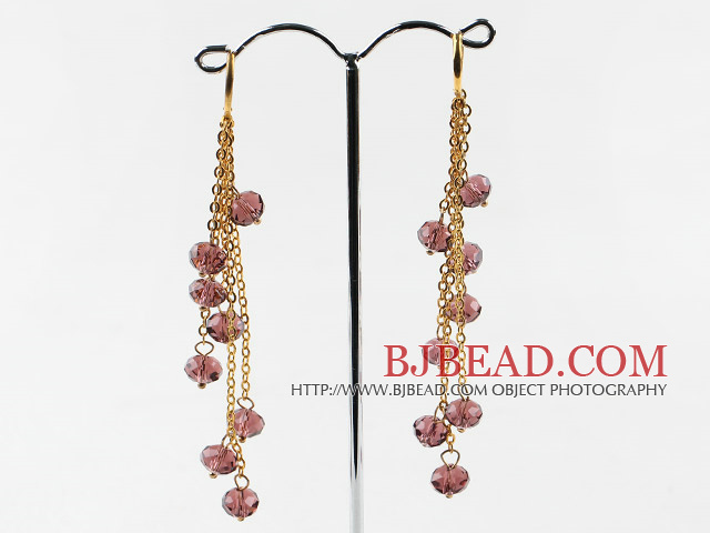 gorgeous crystal long earrings on golden chain