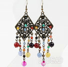 Vintage Style Assorted Multi Color Agate Earrings