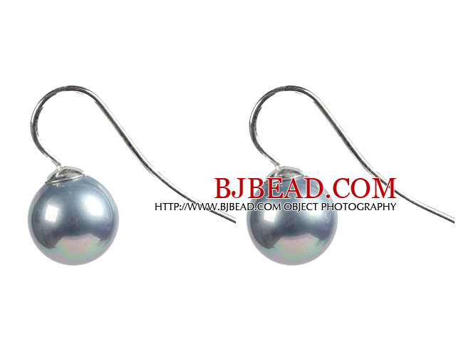 Classic Design Round Shape 10mm Gray Seashell Beads Earrings