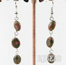 lovely long style green gem stone earrings
