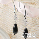 drop shape black agate rhinestone earrings under $2.5