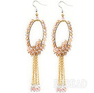 New Style Pink Champagne Series Golden Pink Crystal Tassel Fashion Earrings under $ 40