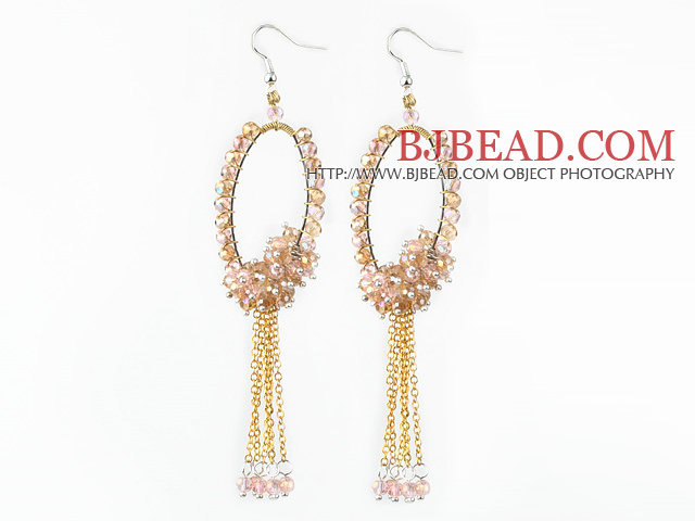 New Style Pink Champagne Series Golden Pink Crystal Tassel Fashion Earrings