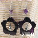 cute handmade flower shape violet agate earrings  under $3