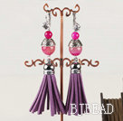pink agate fashion earrings with tassels