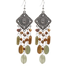 brown pearl and three color jade stone earrings