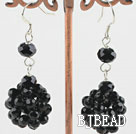 cluster style black crystal ball earrings