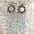 beautiful lake blue and clear crystal earrings under $5