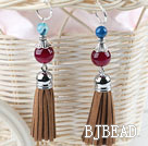 red agate fashion earrings with tassels under $ 40