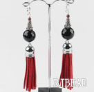 black agate fashion earrings with tassels