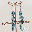 dangling style sea blue drop shape glass beaded earrings