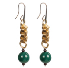 Long Style Garnet Green Agate Dangle Earrings With Golden Charms