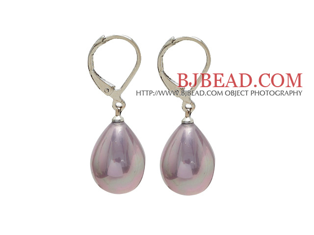 drop shape 12*16 mm purple sea shell bead earrings
