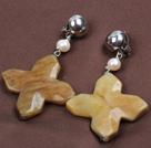 Vintage Elegant Design Natural White Pearl Cross Flower Shape Three Colored Jade Clip Earrings