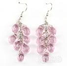 pink manmade crystal cluster earrings