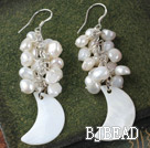 cluster style pearl shell earrings